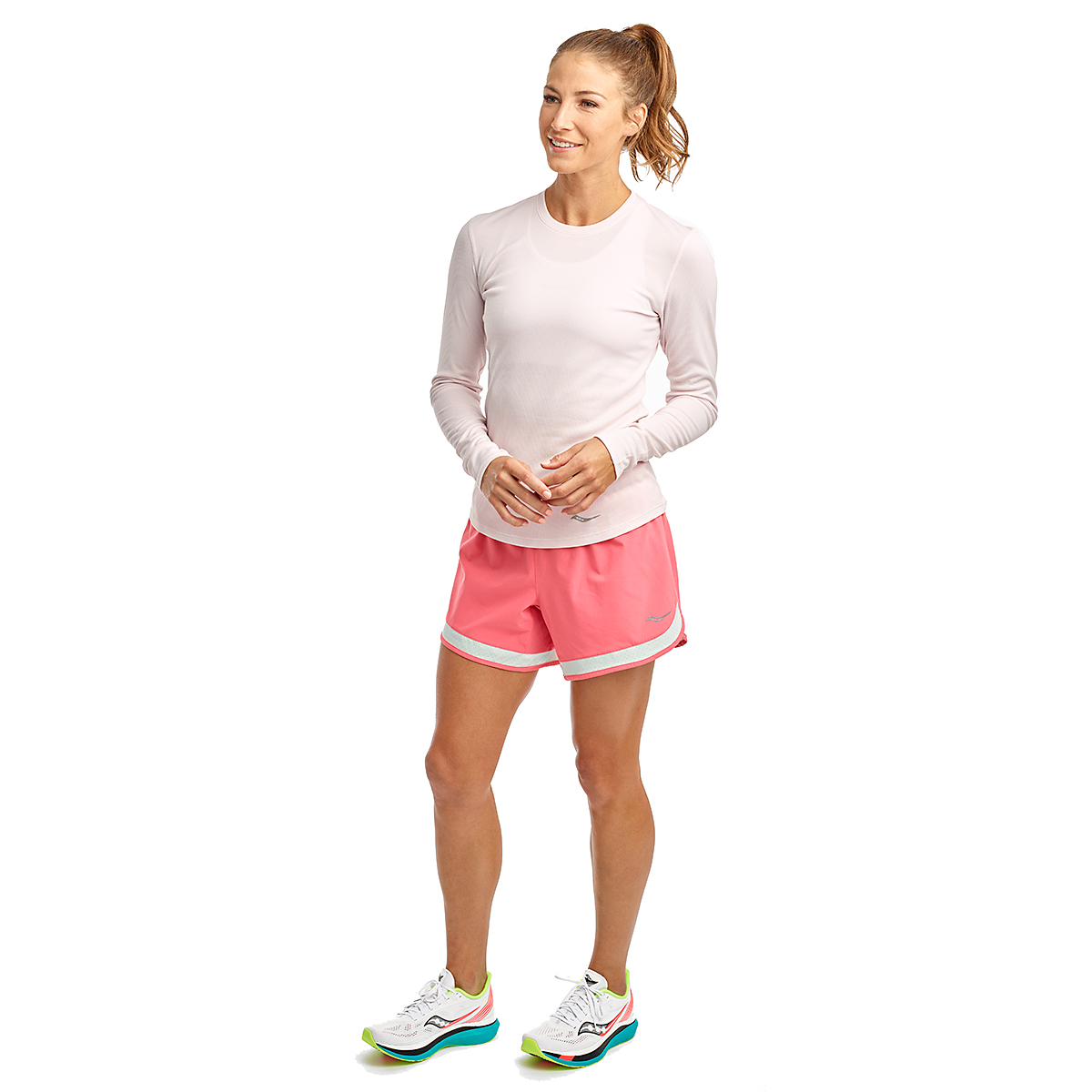 Women's Saucony Stopwatch Long Sleeve - Color: Barely Pink - Size: XXS, Barely Pink, large, image 3