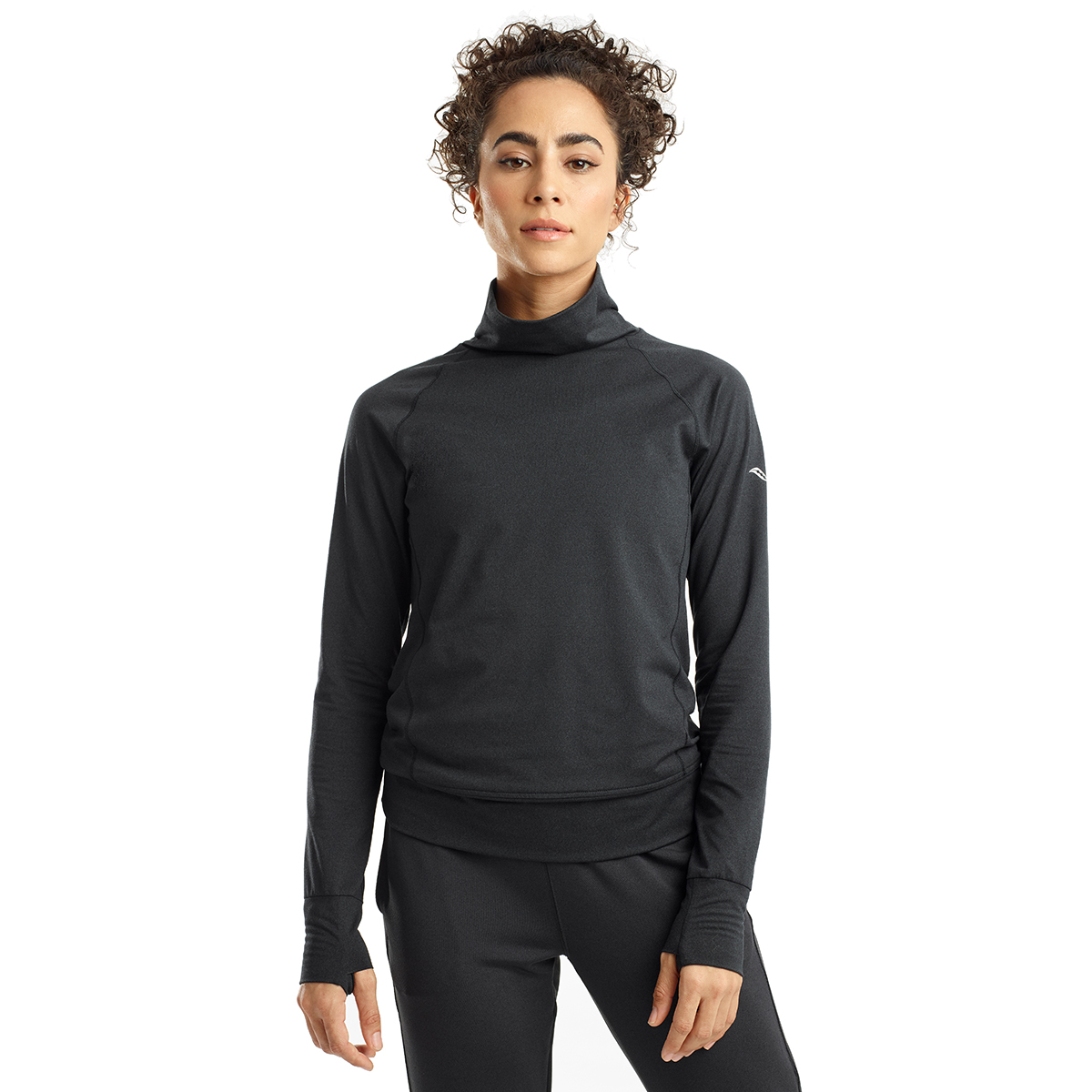 Women's Saucony Sunday Funnel Neck Pullover - Color: Black Heather - Size: XXS, Black Heather, large, image 1