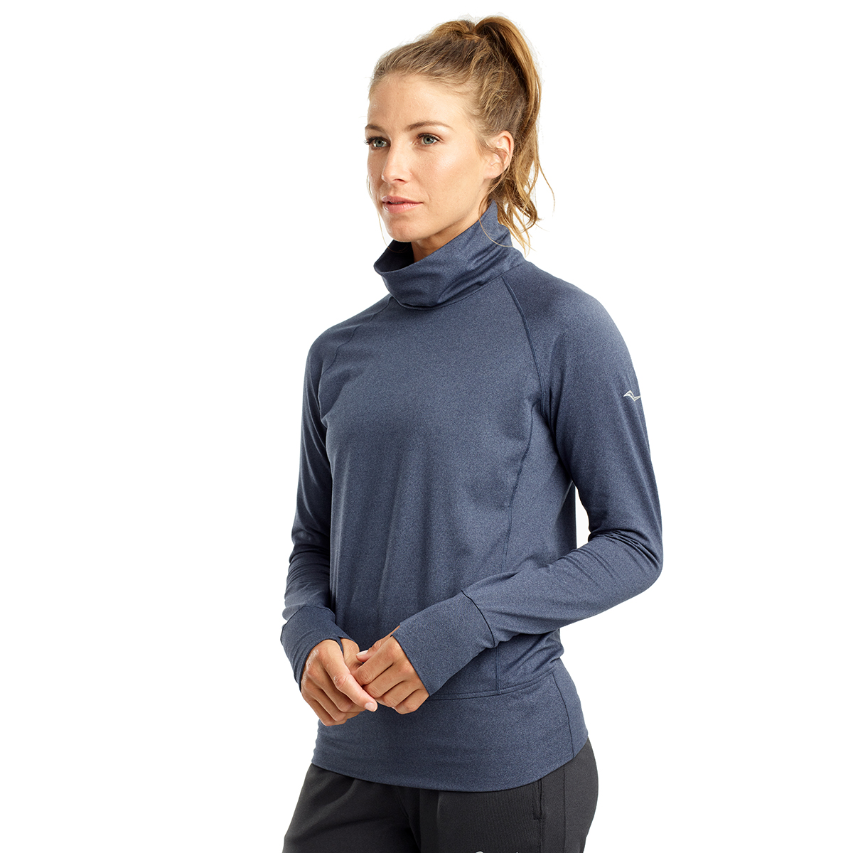 Women's Saucony Sunday Funnel Neck Pullover - Color: Mood Indigo Heather - Size: M, Mood Indigo Heather, large, image 1