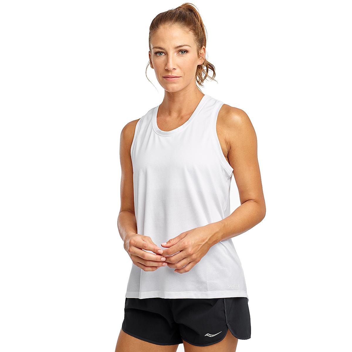 Women's Saucony Rerun Sleeveless Tank  - Color: White - Size: XXS, White, large, image 1