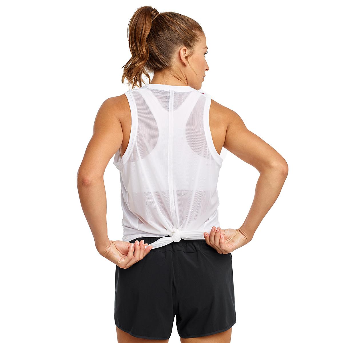 Women's Saucony Rerun Sleeveless Tank  - Color: White - Size: XXS, White, large, image 3