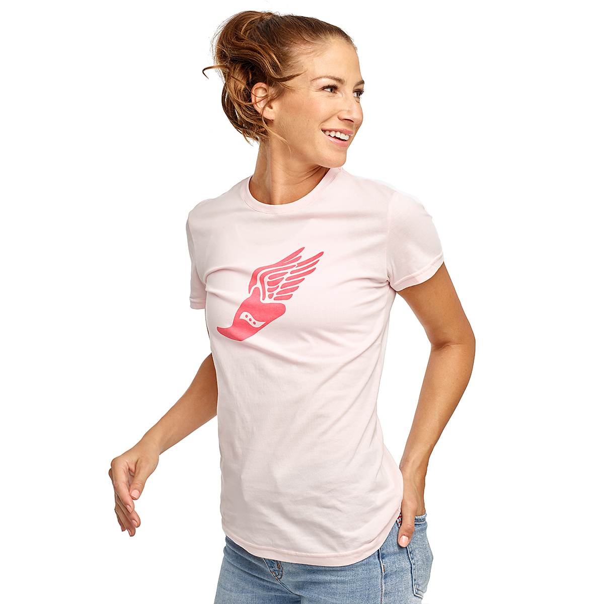 Women's Saucony Rested Short Sleeve - Color: Barely Pink - Size: XXS, Barely Pink, large, image 1