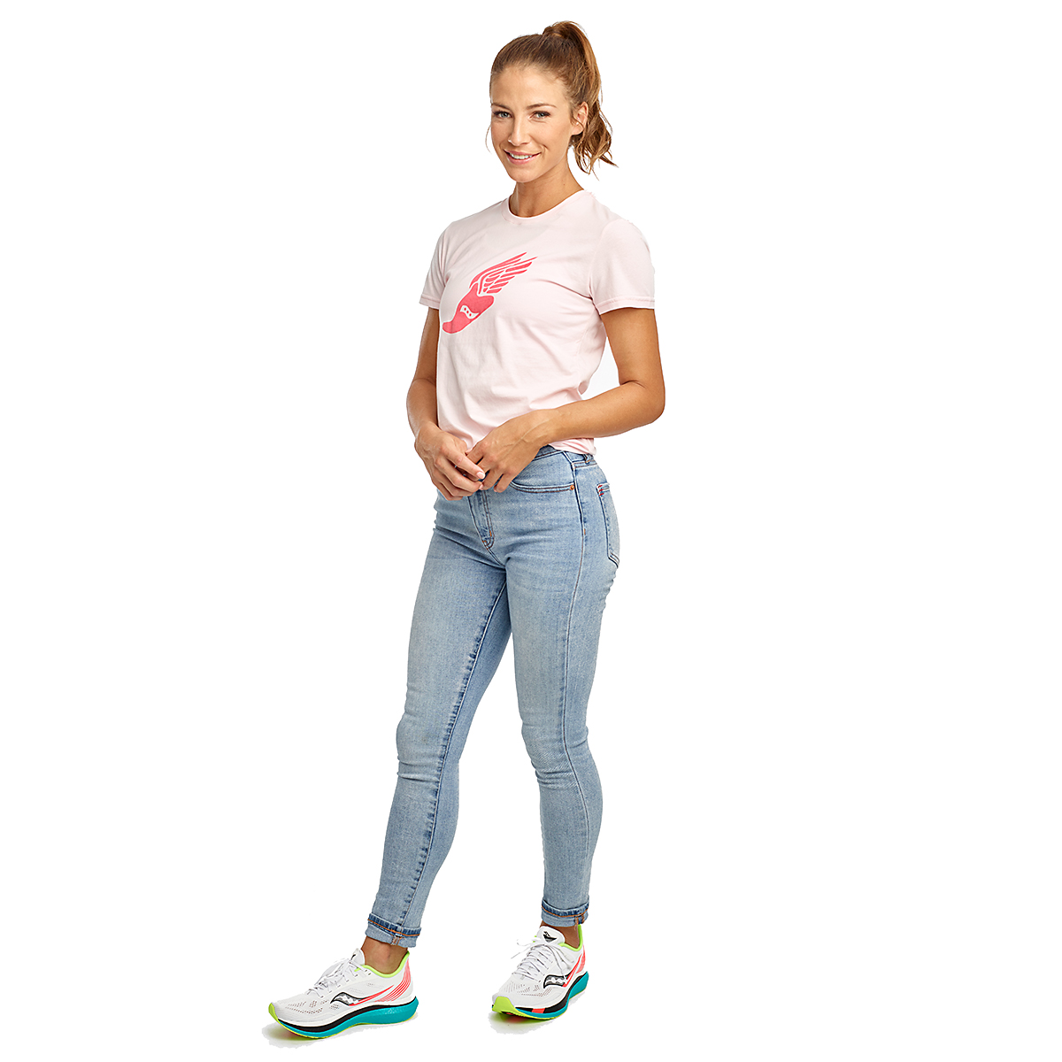 Women's Saucony Rested Short Sleeve - Color: Barely Pink - Size: XXS, Barely Pink, large, image 3