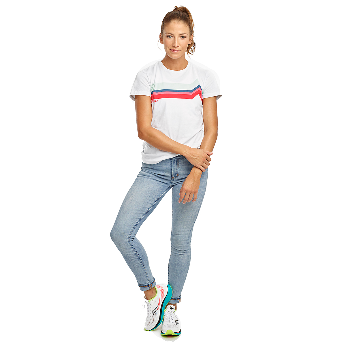 Women's Saucony Rested Short Sleeve - Color: White - Size: XXS, White, large, image 3
