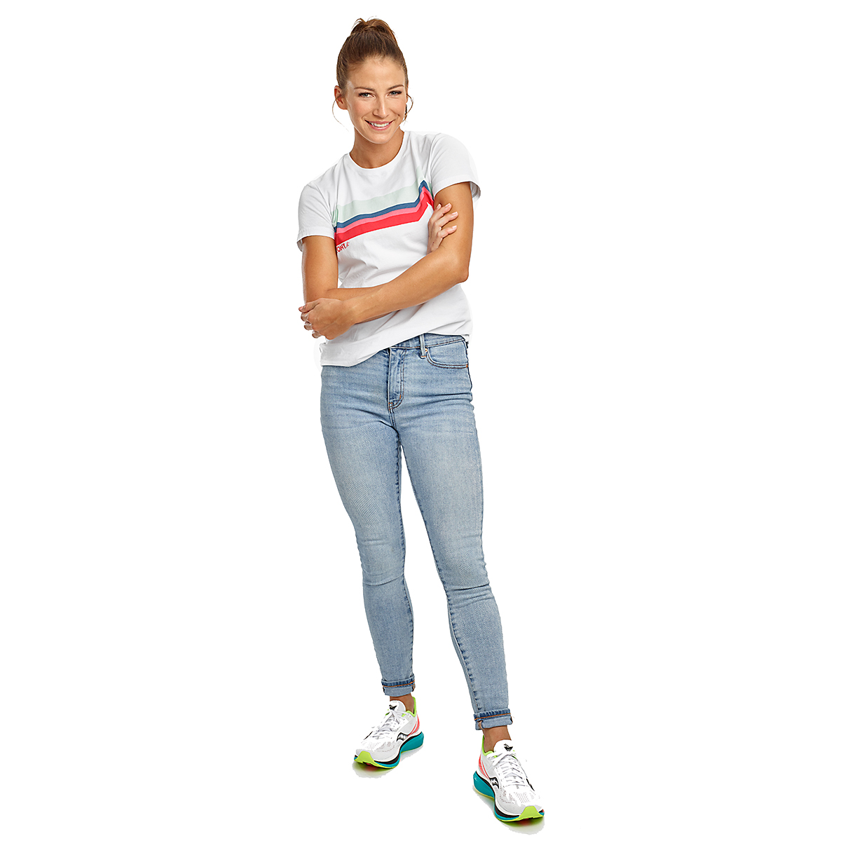 Women's Saucony Rested Short Sleeve - Color: White - Size: XXS, White, large, image 4
