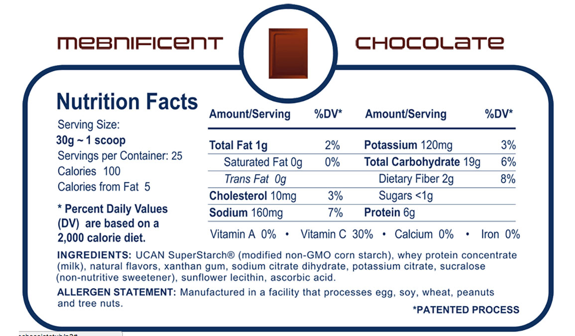 UCAN Mebnificent Powdered Nutrition Drink - Flavor: Chocolate - Size: 25 Servings, Chocolate, large, image 2
