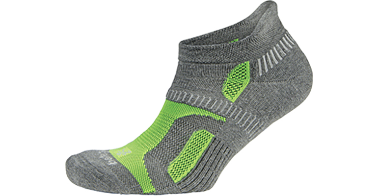 Balega Hidden Contour Sock - Color: Charcoal/Neon Green - Size: L, Grey/Green, large, image 1