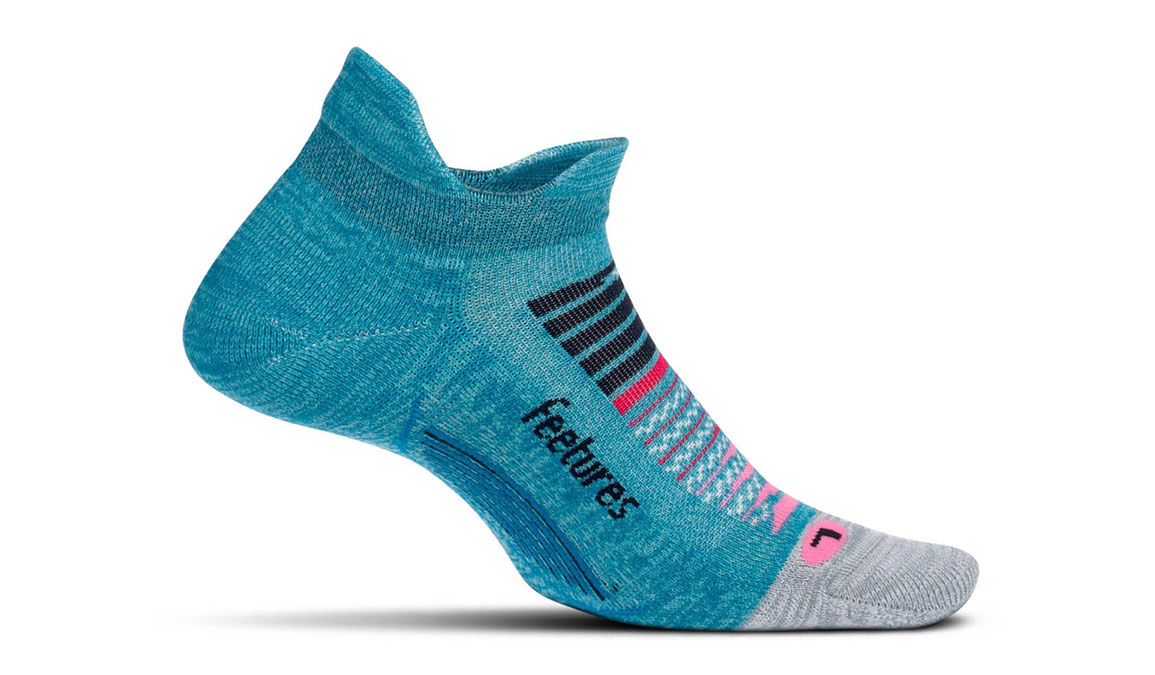 Unisex Feetures Elite Light Cushion No Show Tab Socks - Color: Aurora Blue Size: S, Aurora, large, image 1