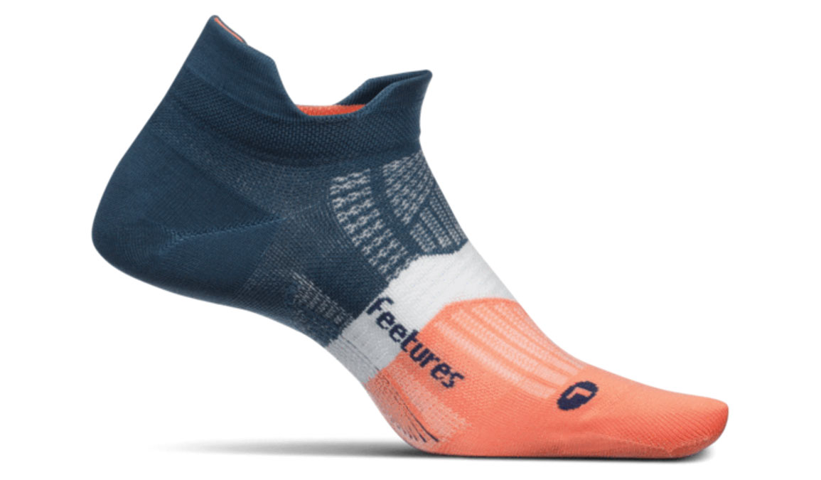 Feetures Elite Light Cushion No Show Tab Socks - Color: Cosmic Saphire Size: S, Grey/Orange, large, image 1