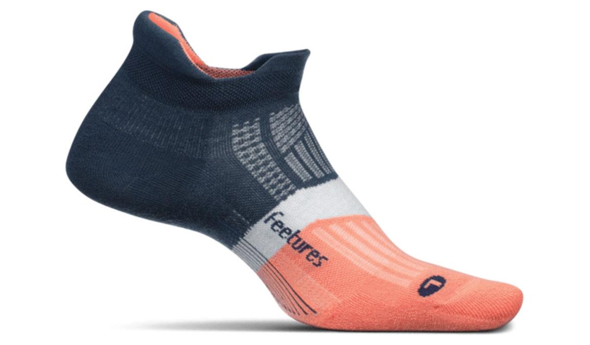 Feetures Elite Max Cushion No Show Tab Socks - Color: Cosmic Saphire Size: S, Grey/Orange, large, image 1