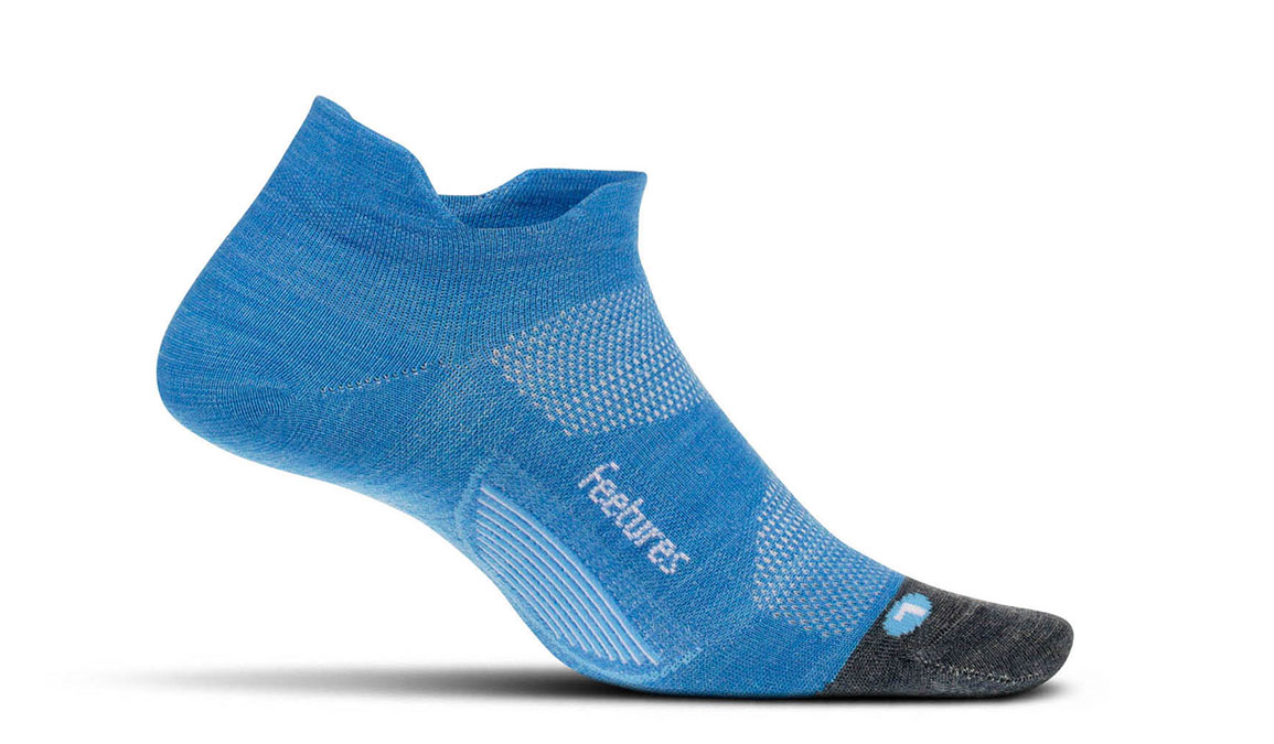 Unisex Feetures Merino 10 Cushion No Show Tab Socks - Color: Aurora Blue Size: L, Aurora, large, image 1
