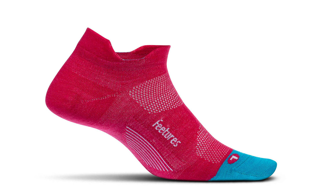 Unisex Feetures Merino 10 Ultra Light No Show Tab Socks - Color: Quasar Pink Size: L, Pink, large, image 1