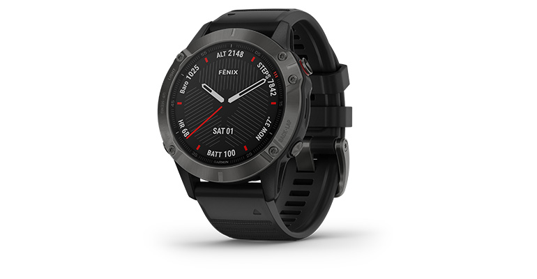 Unisex Garmin fenix 6 Multisport GPS Watch - Sapphire Model - Color: Gray with Black Band - Case Size: 47mm, Gray/Black Band, large, image 1