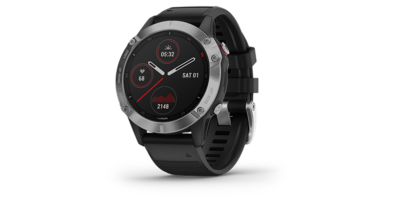 Garmin fenix 6 Multisport GPS Watch Base Model - Color: Silver with Black Band - Case Size: 47mm, Silver/Black Band, large, image 1