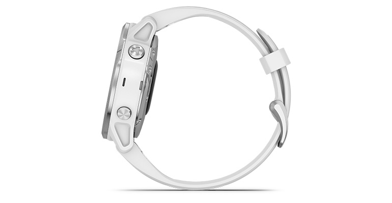 Unisex Garmin fenix 6S Multisport GPS Watch - Base Model - Color: Silver with White Band - Case Size: 42mm, Silver/White Band, large, image 2