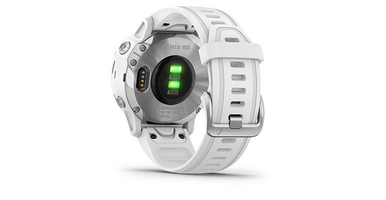 Unisex Garmin fenix 6S Multisport GPS Watch - Base Model - Color: Silver with White Band - Case Size: 42mm, Silver/White Band, large, image 3