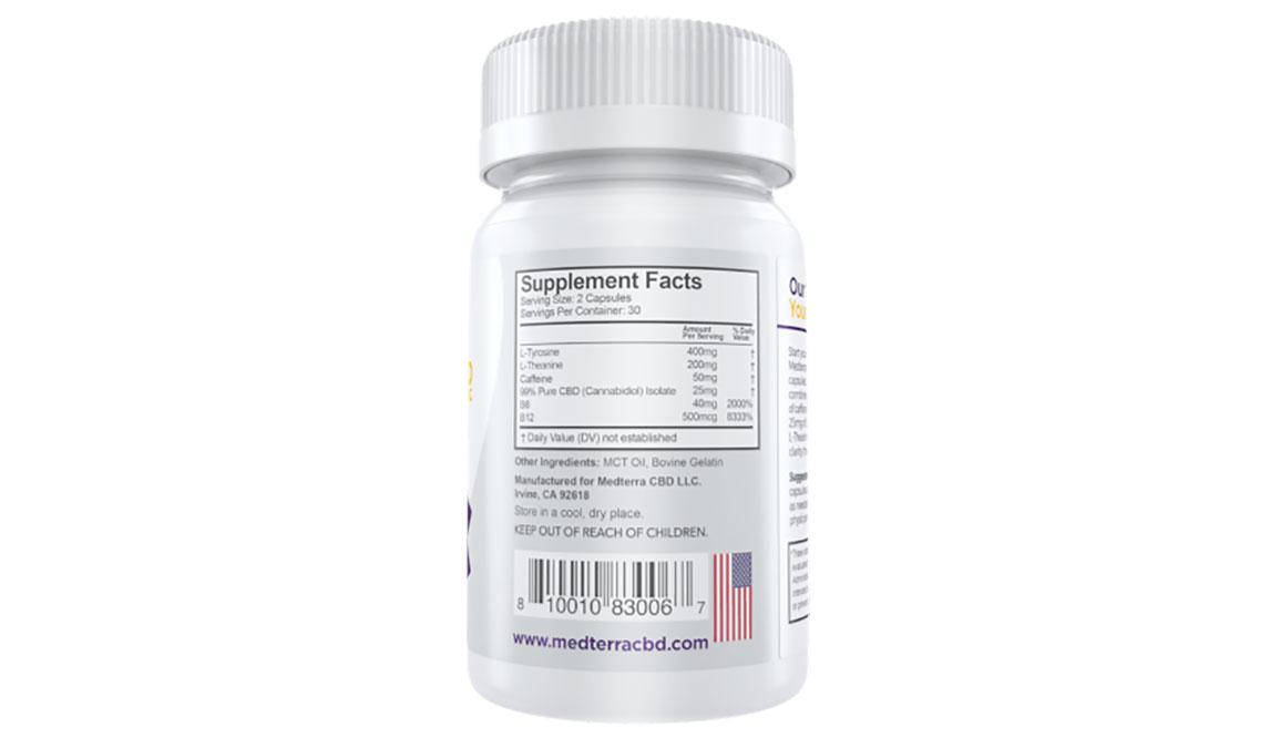 Medterra CBD Good Morning Capsules - Size: 25 mg, White, large, image 2