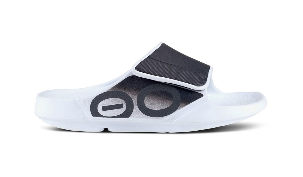 Oofos OOahh Sport Flex Recovery Sandal - Color: White/Black (Regular Width) - Size: M10/W12, White/Black, large, image 2