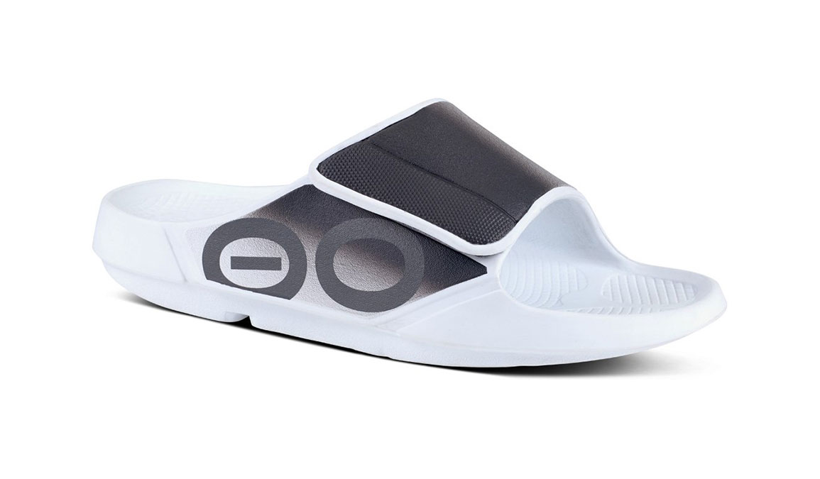 Oofos OOahh Sport Flex Recovery Sandal - Color: White/Black - Size: M10/W12 - Width: Regular, White/Black, large, image 1