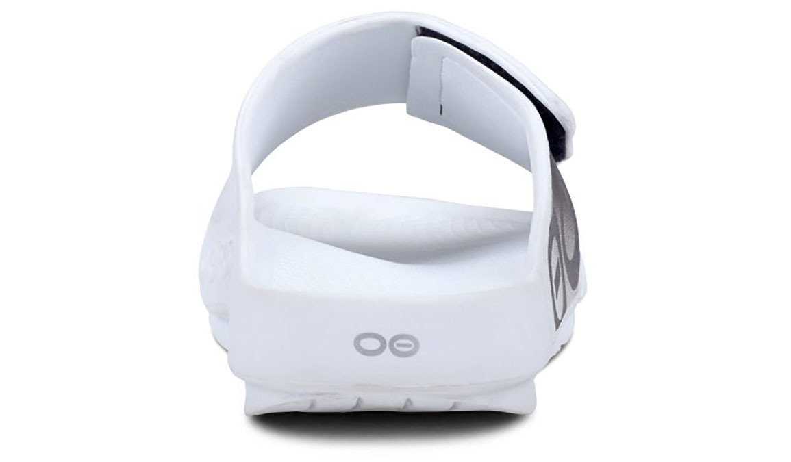 Oofos OOahh Sport Flex Recovery Sandal - Color: White/Black - Size: M10/W12 - Width: Regular, White/Black, large, image 5