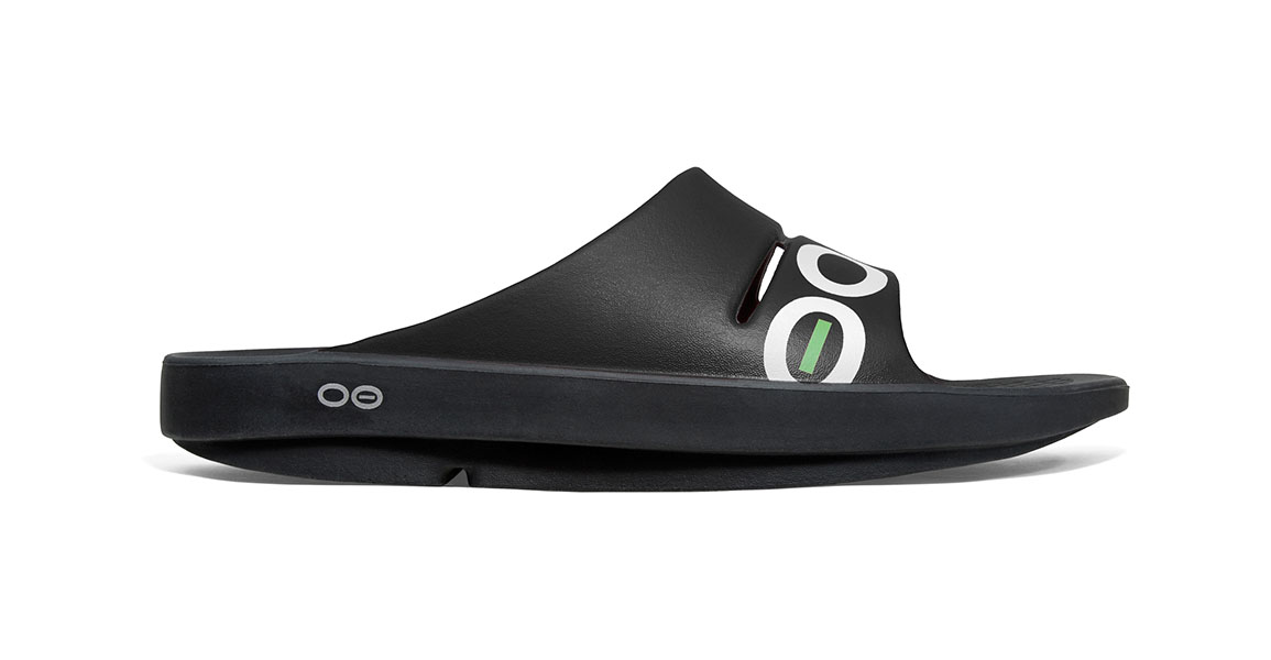 Oofos OOahh Sport Slide Recovery Sandal - Color: Black/White (Regular Width) - Size: M5/W7, Black/White, large, image 1