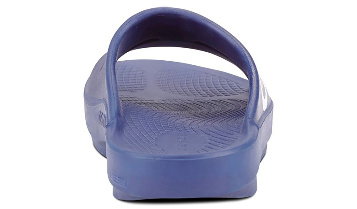 Oofos OOahh Sport Recovery Slide - Color: Navy/White - Size: M14/W16 - Width: Regular, Navy/White, large, image 5