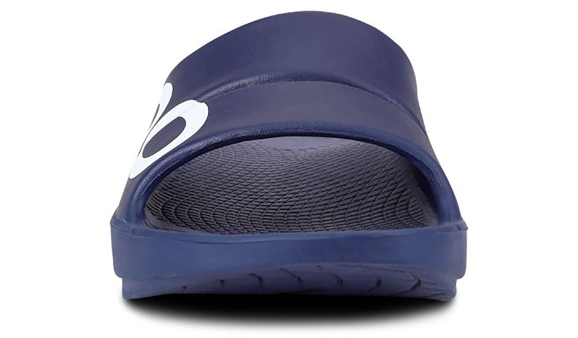 Oofos OOahh Sport Slide Recovery Sandal - Color: Navy/White (Regular Width) - Size: M11/W13, Navy/White, large, image 4