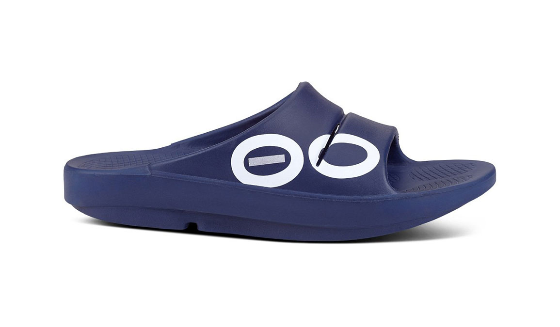 Oofos OOahh Sport Slide Recovery Sandal - Color: Navy/White (Regular Width) - Size: M11/W13, Navy/White, large, image 1