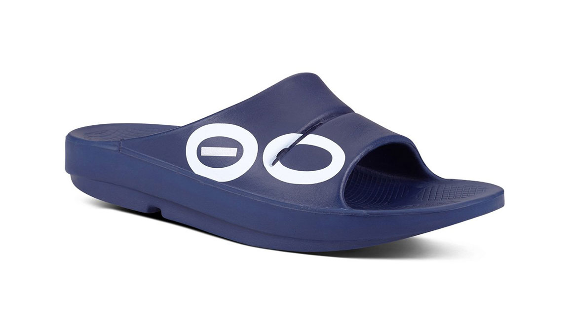 Oofos OOahh Sport Slide Recovery Sandal - Color: Navy/White (Regular Width) - Size: M11/W13, Navy/White, large, image 2
