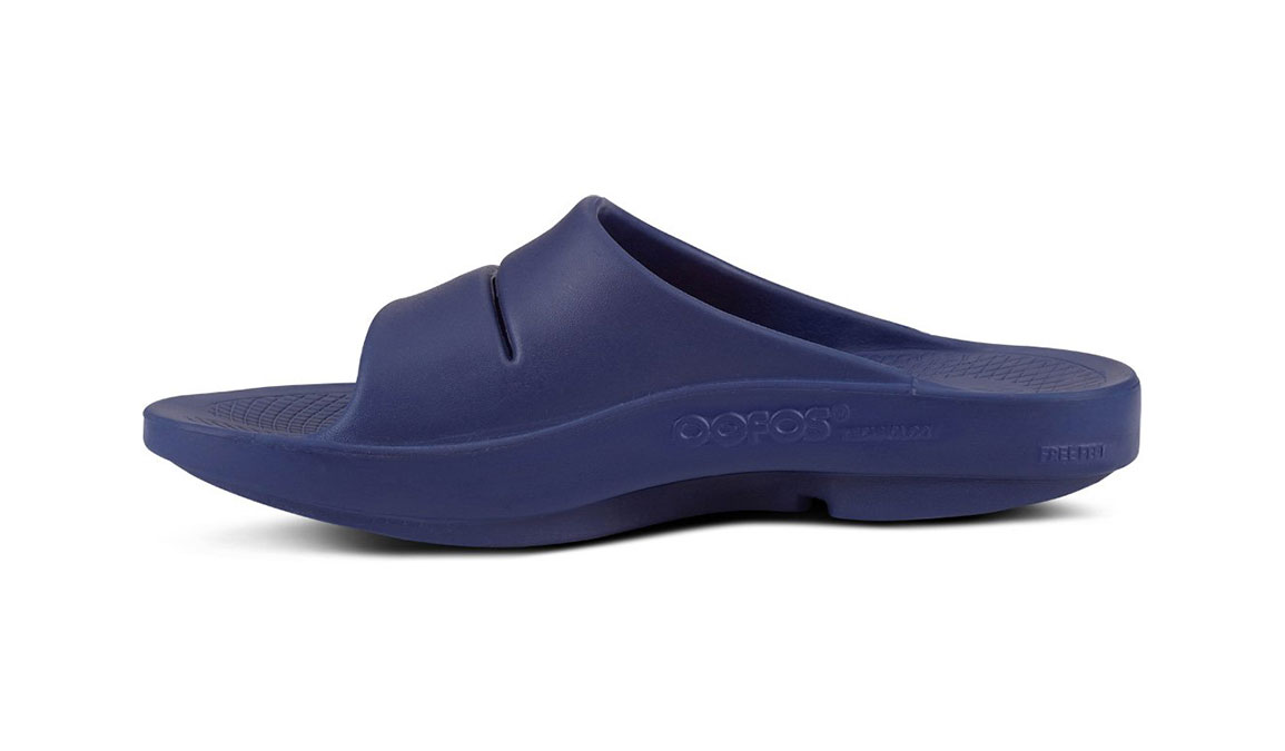 Oofos OOahh Sport Slide Recovery Sandal - Color: Navy/White (Regular Width) - Size: M11/W13, Navy/White, large, image 3