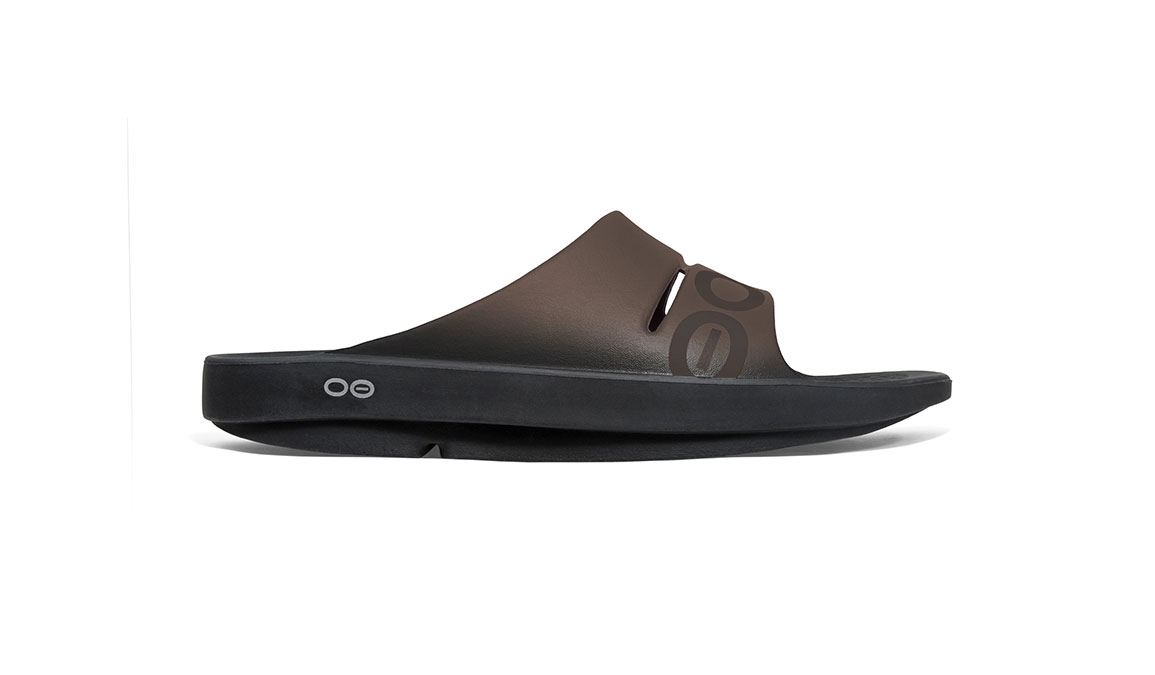Oofos OOahh Sport Slide Recovery Sandal - Color: Brown - Size: M7/W9, Brown, large, image 1