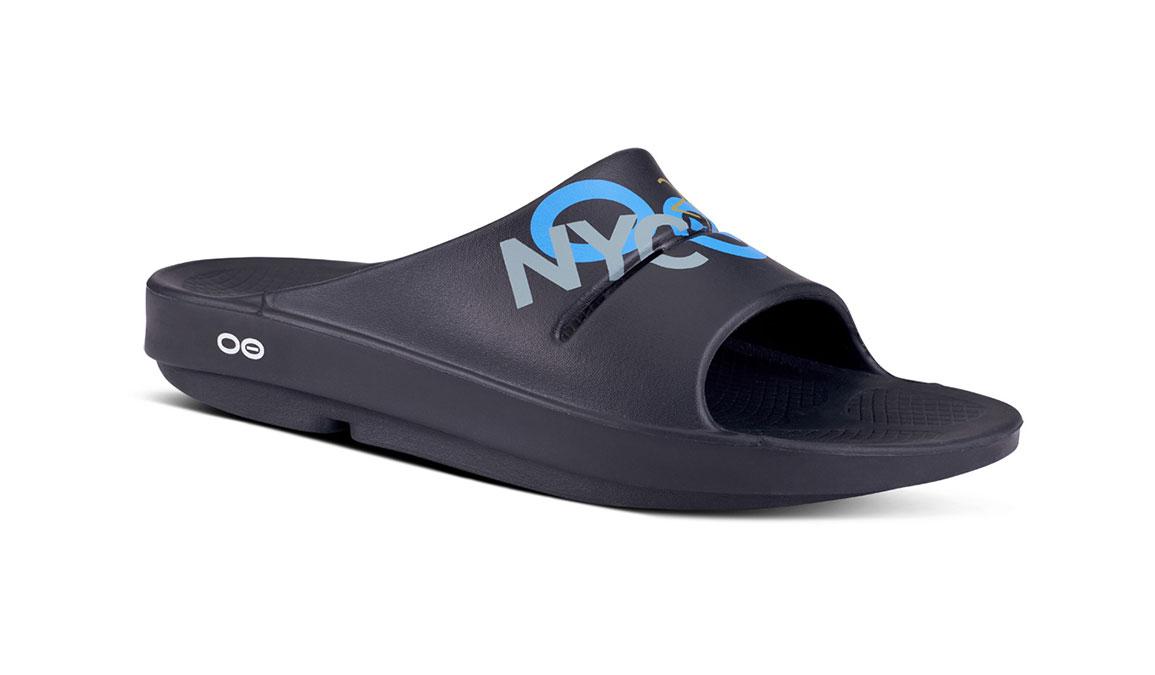 Oofos OOahhh Sport NYC 19 Slide Sandals - Color: Black (Regular Width) - Size: M6/W8, Black, large, image 1