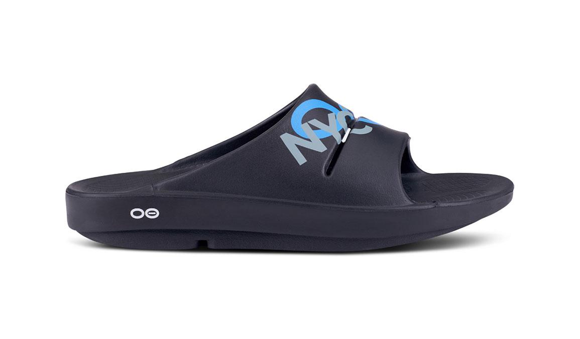 Oofos OOahhh Sport NYC 19 Slide Sandals - Color: Black (Regular Width) - Size: M6/W8, Black, large, image 2
