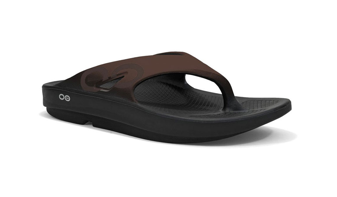 Oofos OOriginal Sport Thong Recovery Sandal - Color: Black/Brown (Regular Width) - Size: M10/W12, Black/Brown, large, image 1