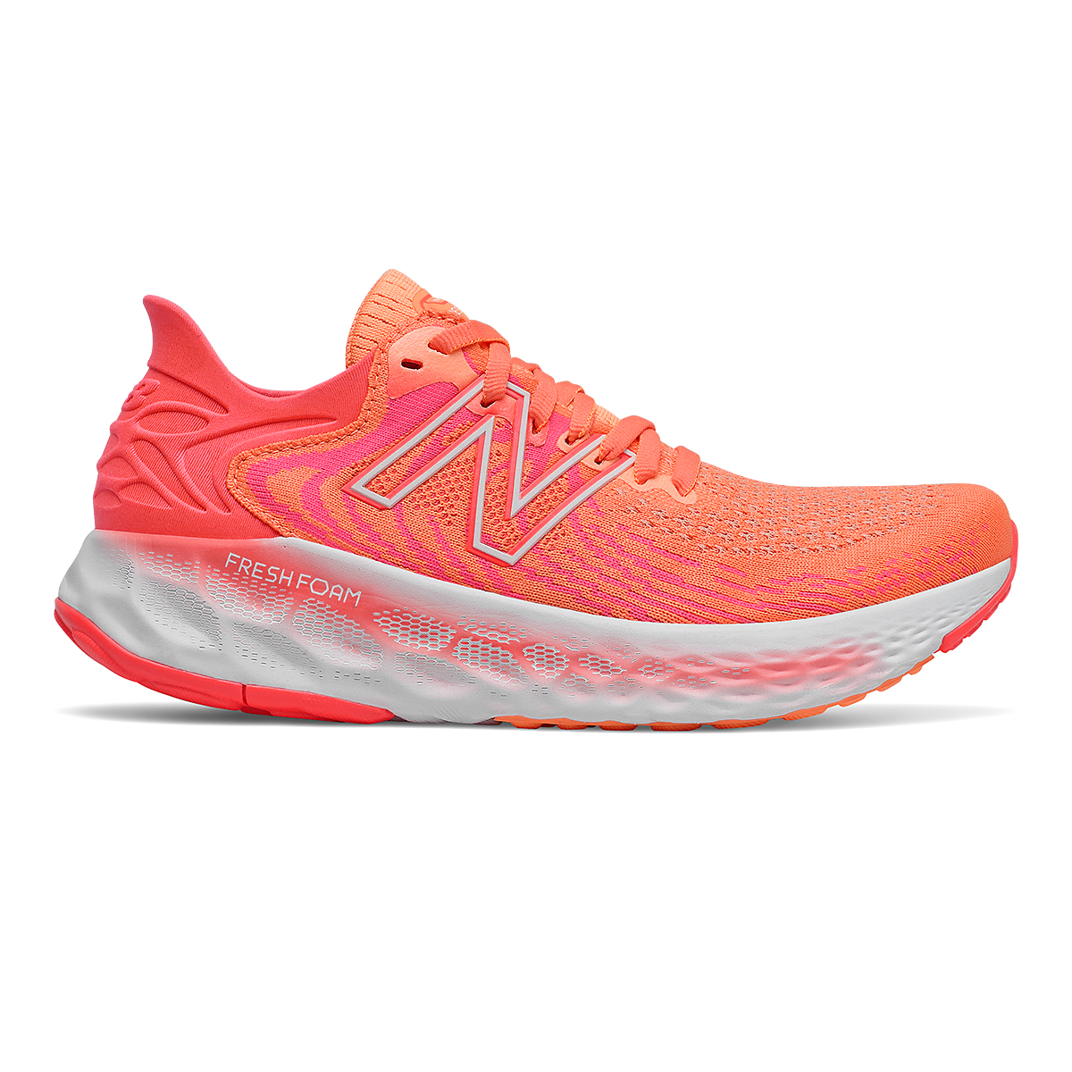 Women's New Balance 1080v11 Running Shoe - Color: Citrus Punch/Vivid Coral - Size: 5 - Width: Narrow, Citrus Punch/Vivid Coral, large, image 1