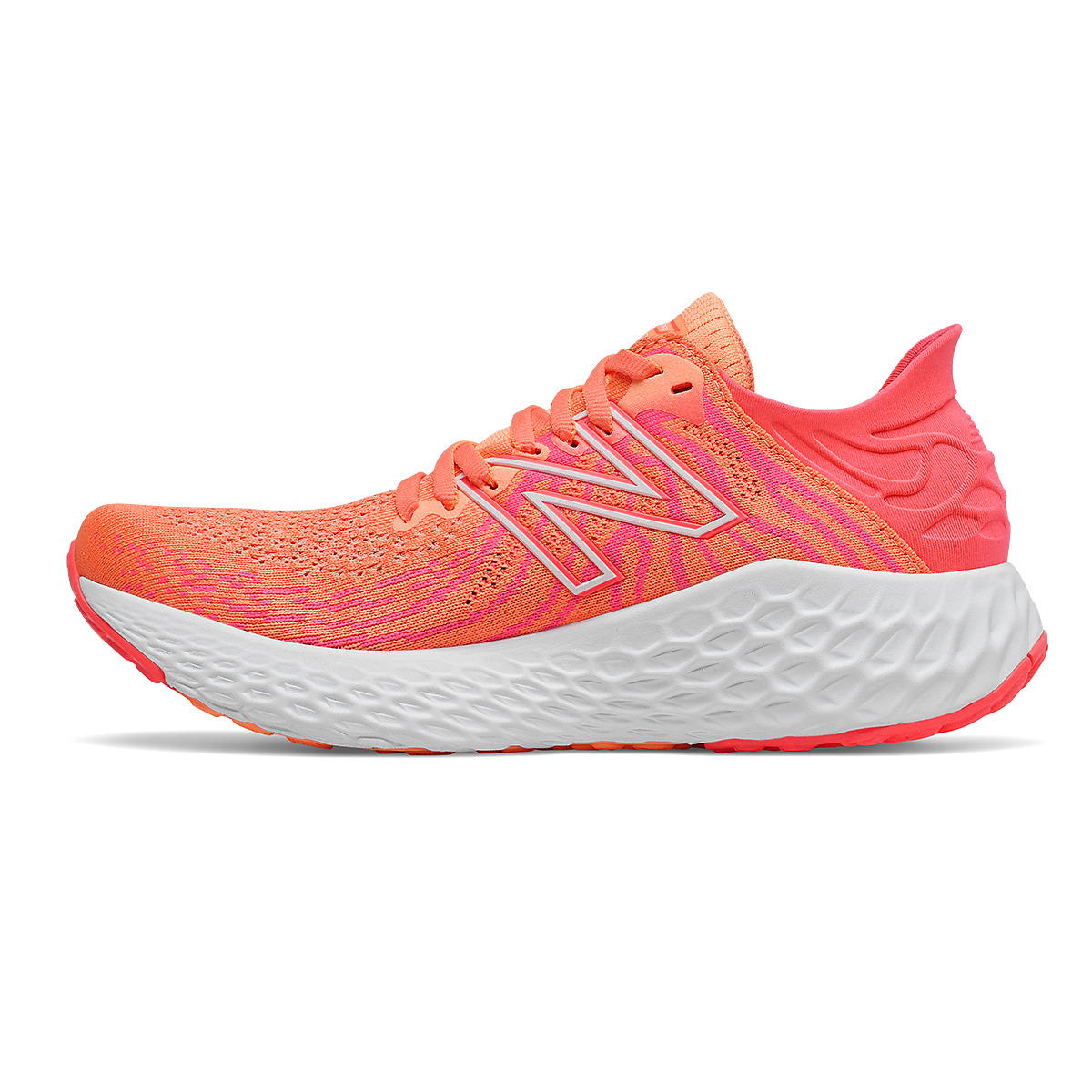 Women's New Balance 1080v11 Running Shoe - Color: Citrus Punch/Vivid Coral - Size: 5 - Width: Narrow, Citrus Punch/Vivid Coral, large, image 2