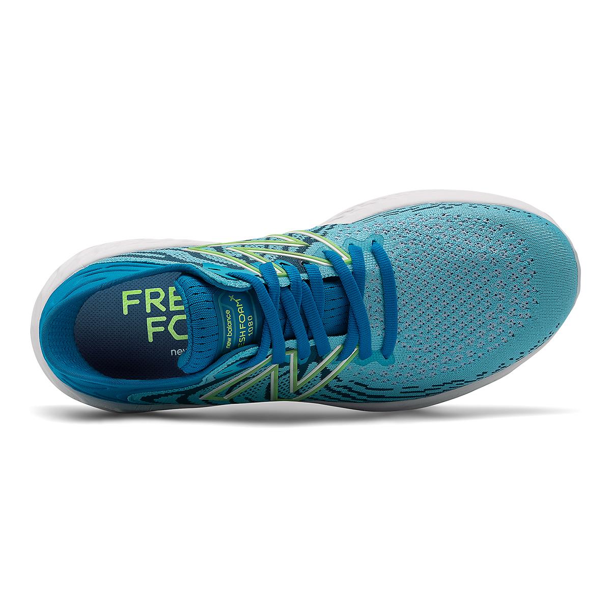 Women's New Balance Fresh Foam 1080v11 Running Shoe - Color: Virtual Sky/Bleached Lime Glo - Size: 5 - Width: Narrow, Virtual Sky/Bleached Lime Glo, large, image 4