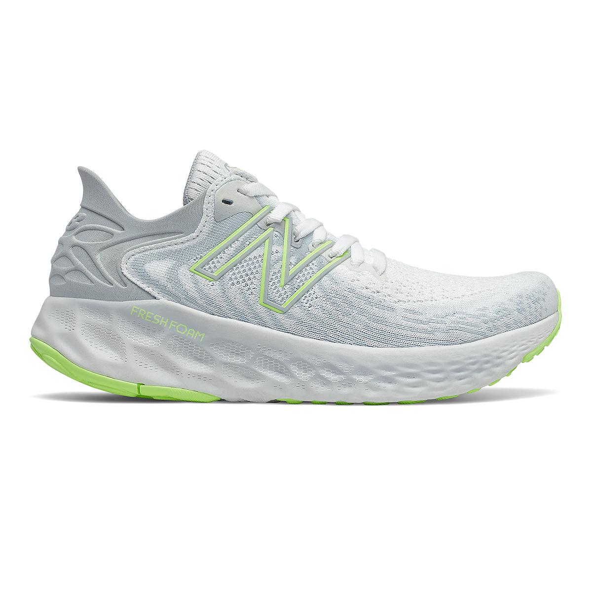 Women's New Balance 1080v11 Running Shoe - Color: White/Bleached Lime Glo - Size: 5 - Width: Narrow, White/Bleached Lime Glo, large, image 1