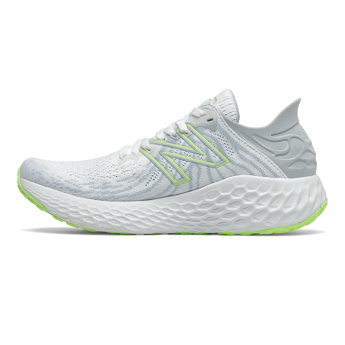 Women's New Balance 1080v11 Running Shoe - Color: White/Bleached Lime Glo - Size: 5 - Width: Narrow, White/Bleached Lime Glo, large, image 2