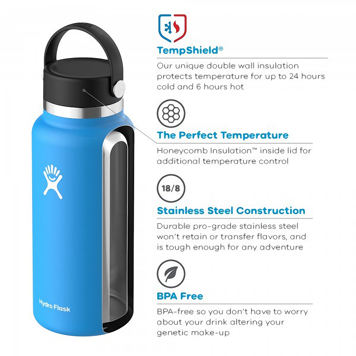 Hydro Flask 32 oz Wide Mouth Bottle - Color: Black Size: One Size, Black, large, image 2