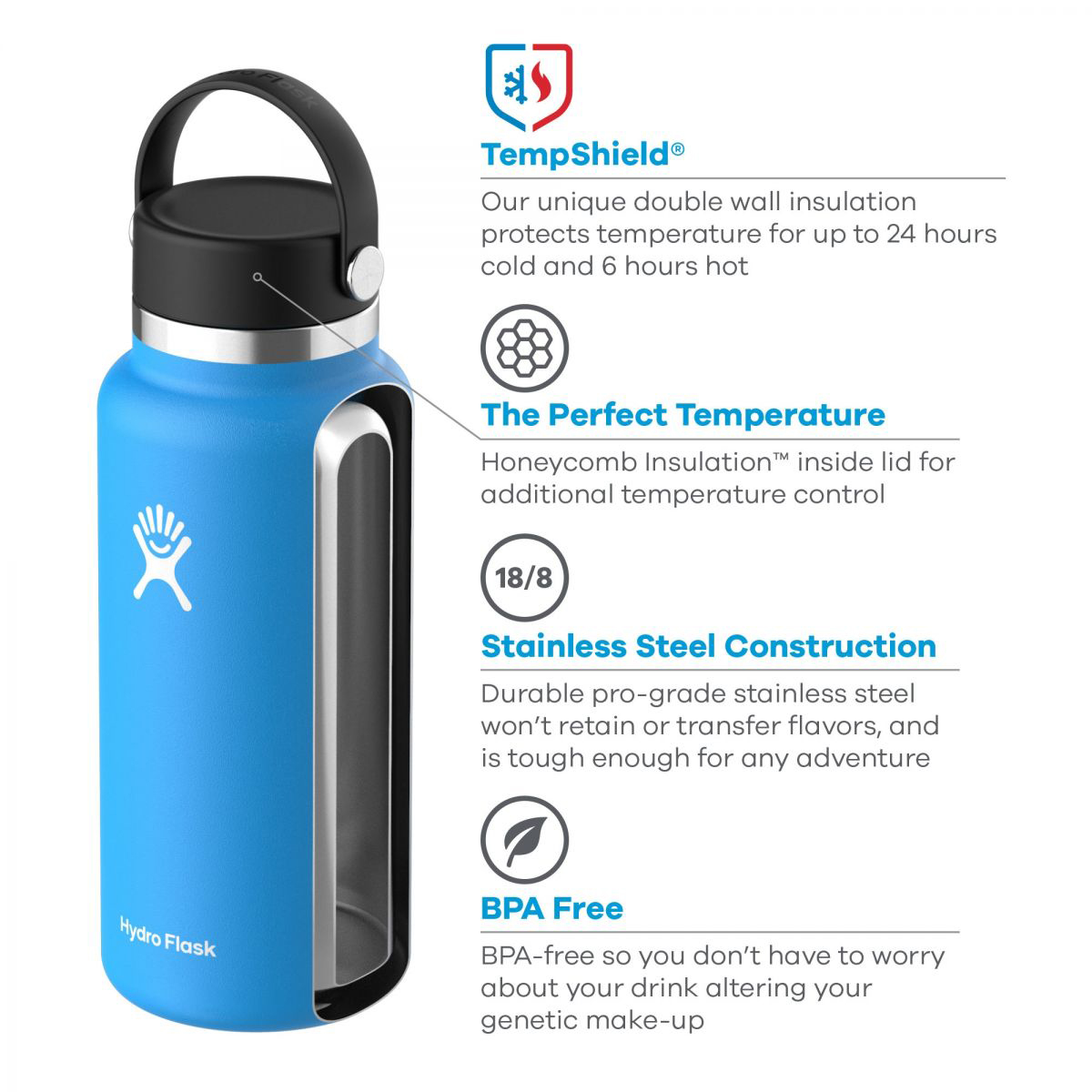 Hydro Flask 40 oz Wide Mouth Bottle - Color: Pacific - Size: 40OZ, Pacific, large, image 2