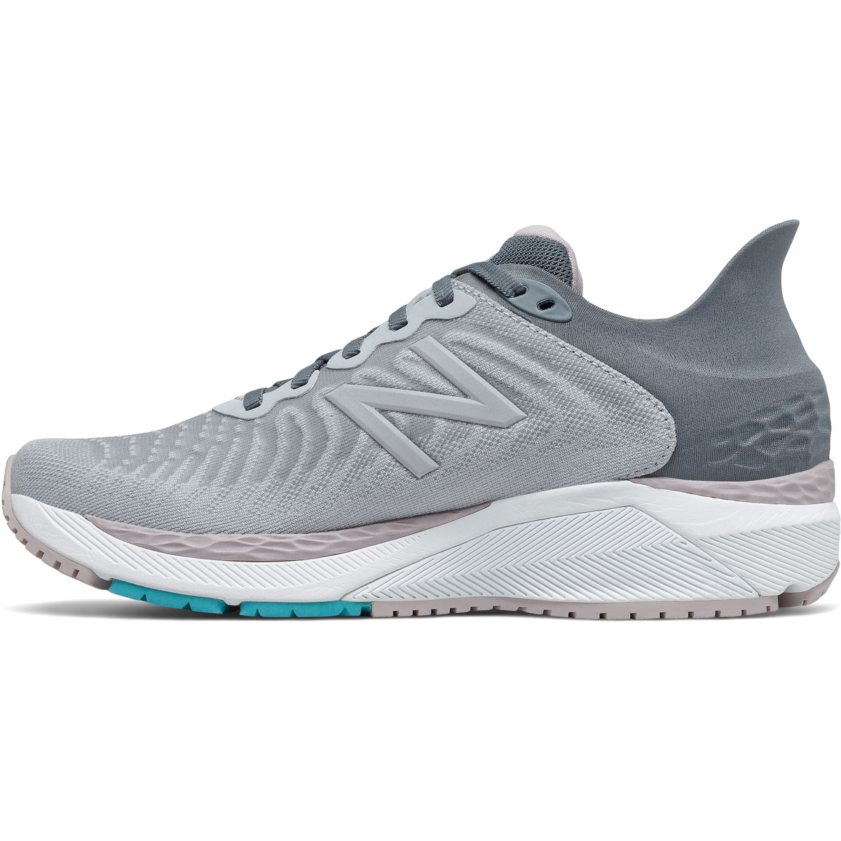 Women's New Balance 860V11 Running Shoe - Color: Light Cyclone/Logwood  - Size: 5 - Width: Narrow, Light Cyclone/Logwood, large, image 2