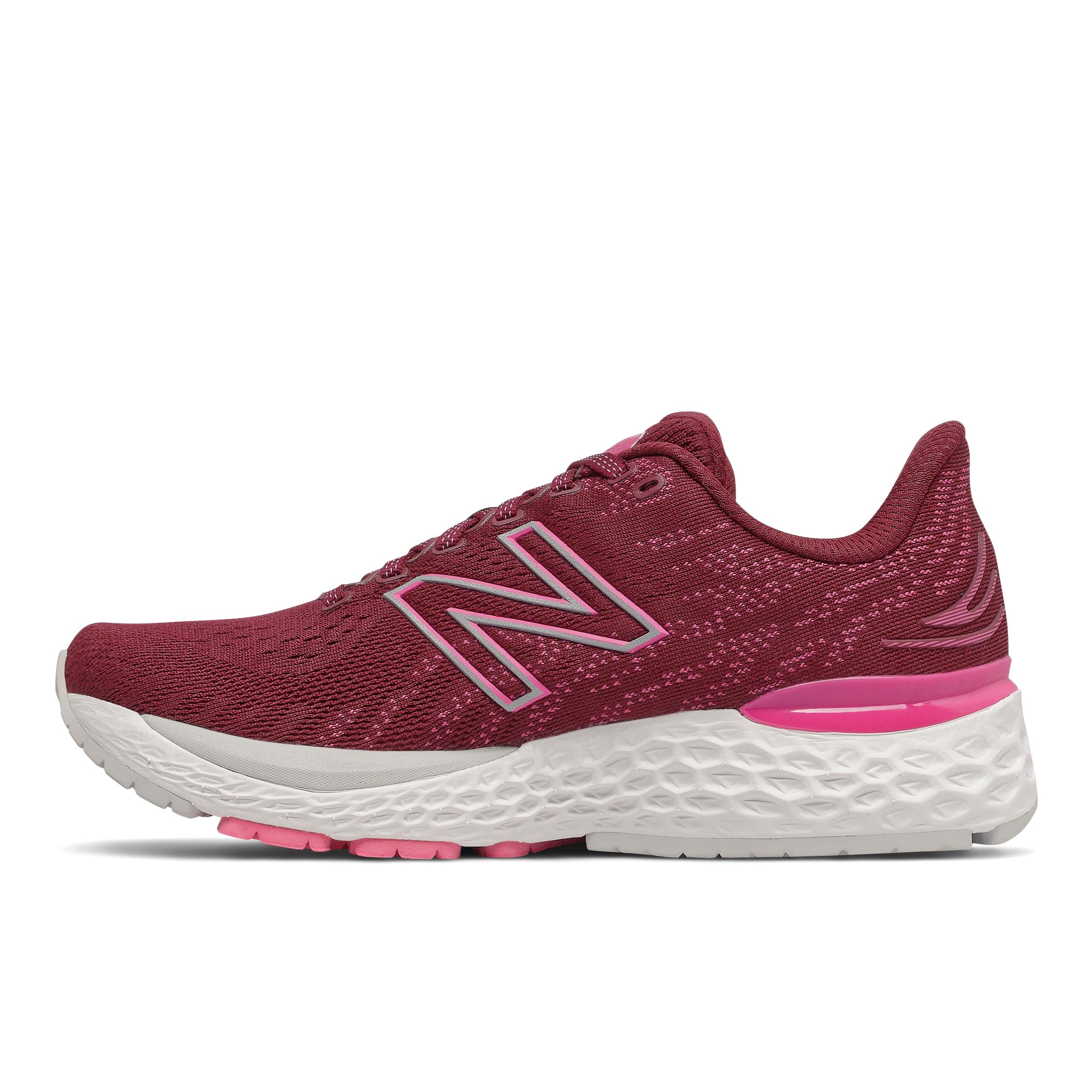 Women's New Balance 880V11 Running Shoe - Color: Garnet/Pink Glo - Size: 5 - Width: Narrow, Garnet/Pink Glo, large, image 2