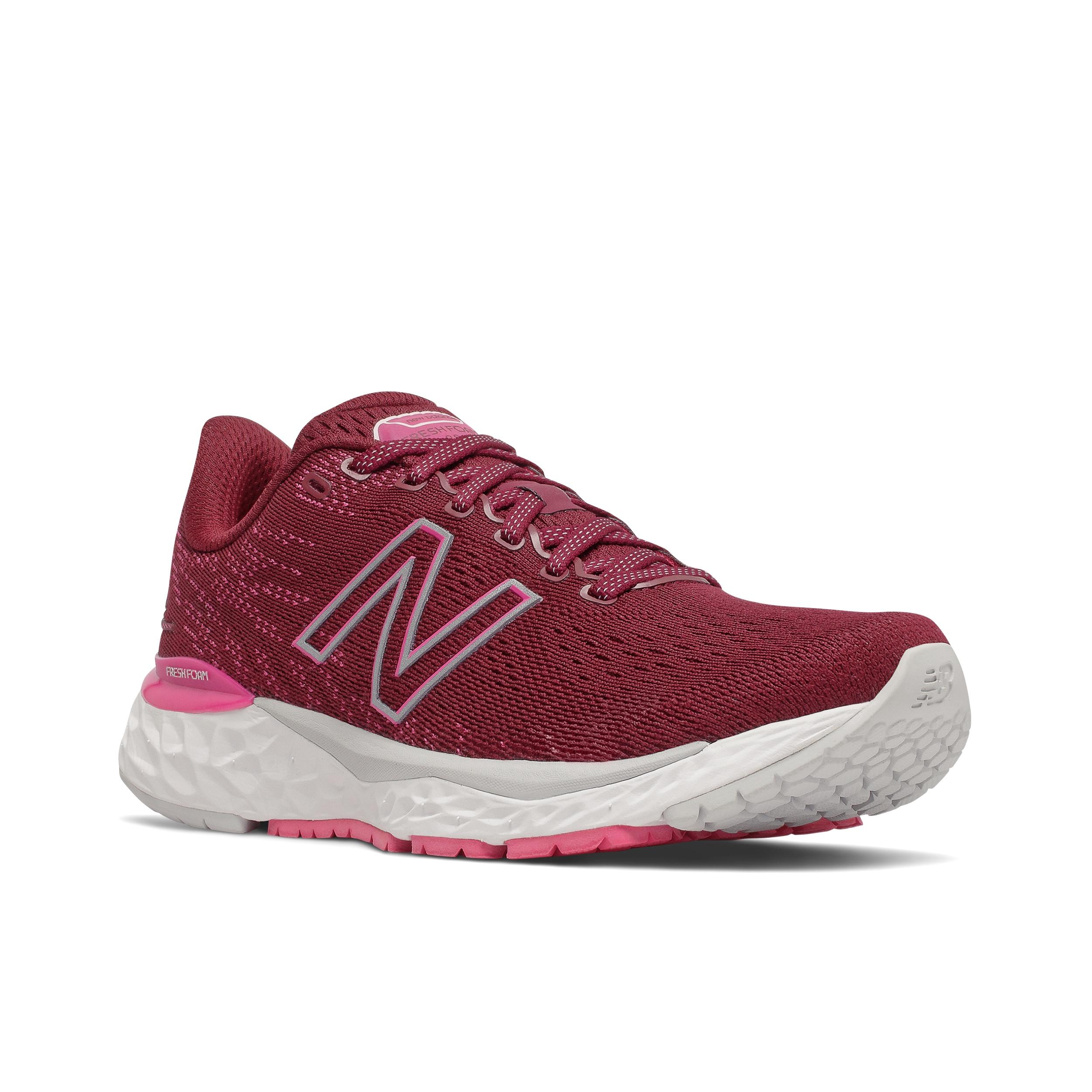 Women's New Balance 880V11 Running Shoe - Color: Garnet/Pink Glo - Size: 5 - Width: Narrow, Garnet/Pink Glo, large, image 4