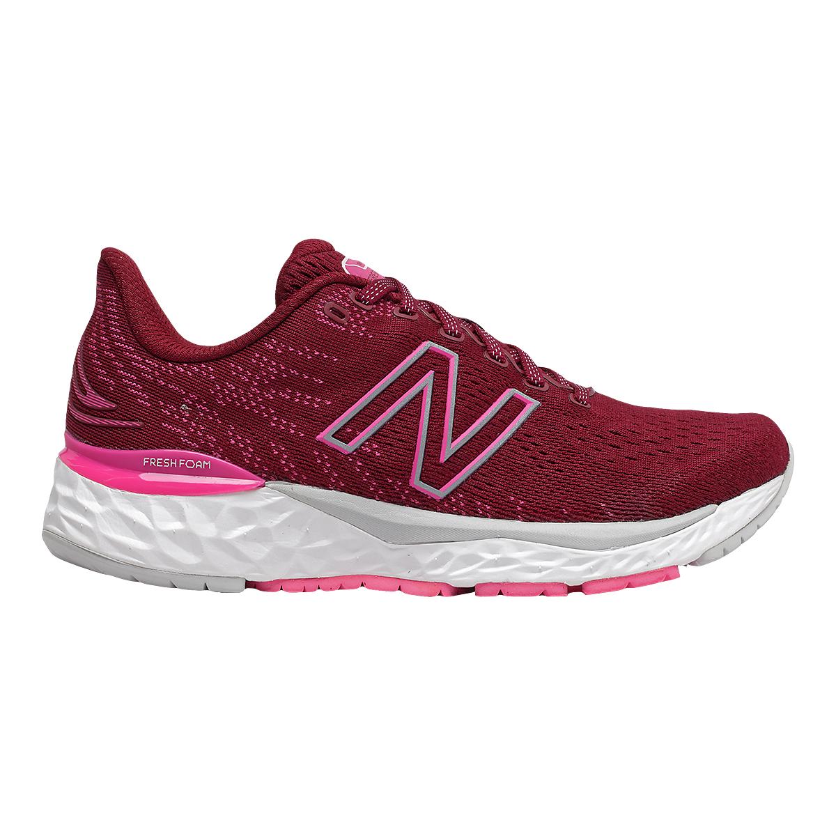 Women's New Balance 880V11 Running Shoe - Color: Garnet/Pink Glo - Size: 5 - Width: Narrow, Garnet/Pink Glo, large, image 1