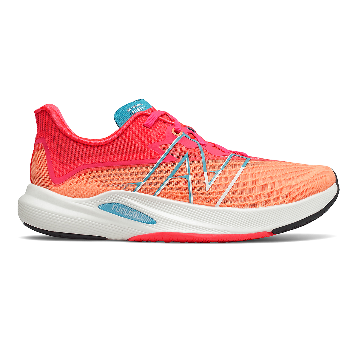 Women's New Balance Fuelcell Rebel V2 Running Shoe - Color: Citrus Punch/Vivid Coral/Ghost Pepper - Size: 7 - Width: Regular, Citrus Punch/Vivid Coral/Ghost Pepper, large, image 1