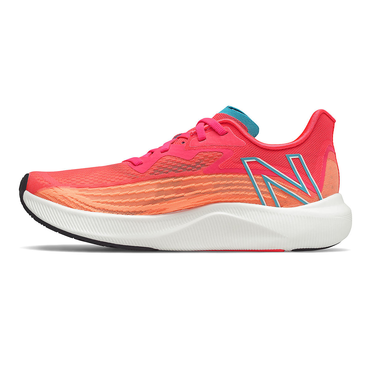 Women's New Balance Fuelcell Rebel V2 Running Shoe - Color: Citrus Punch/Vivid Coral/Ghost Pepper - Size: 7 - Width: Regular, Citrus Punch/Vivid Coral/Ghost Pepper, large, image 2