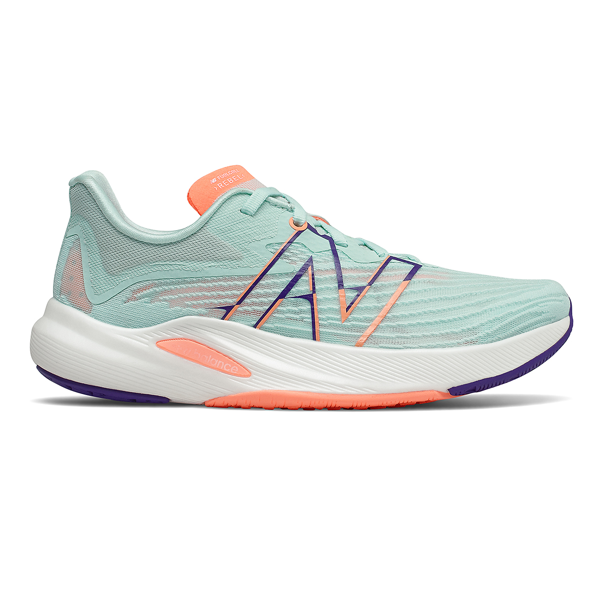 Women's New Balance Fuelcell Rebel V2 Running Shoe - Color: White Mint/Citrus Punch - Size: 7 - Width: Regular, White Mint/Citrus Punch, large, image 1