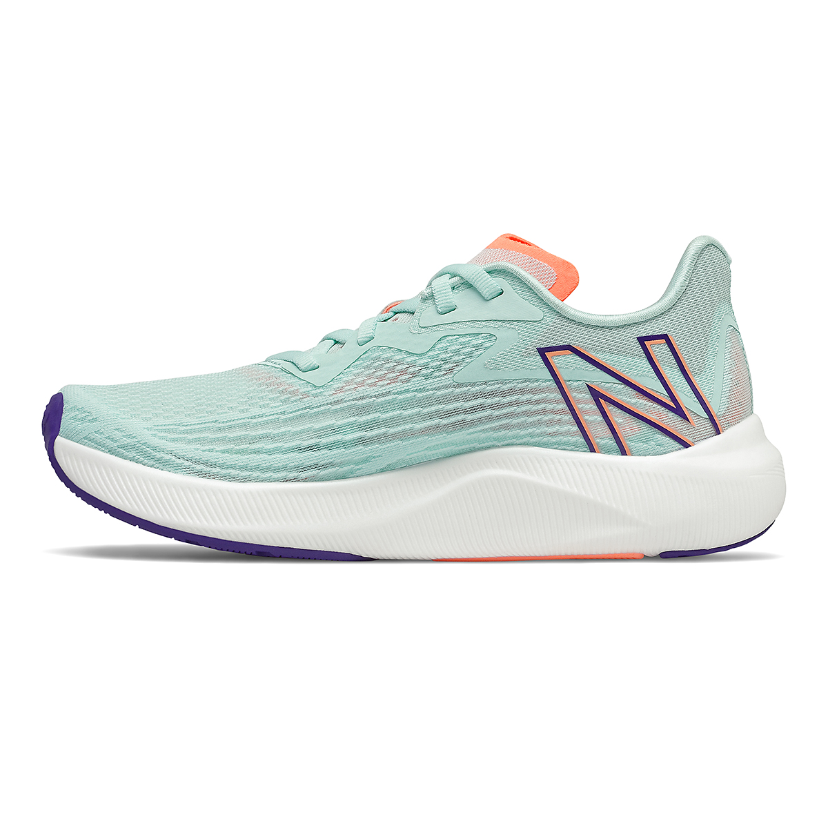 Women's New Balance Fuelcell Rebel V2 Running Shoe - Color: White Mint/Citrus Punch - Size: 7 - Width: Regular, White Mint/Citrus Punch, large, image 2