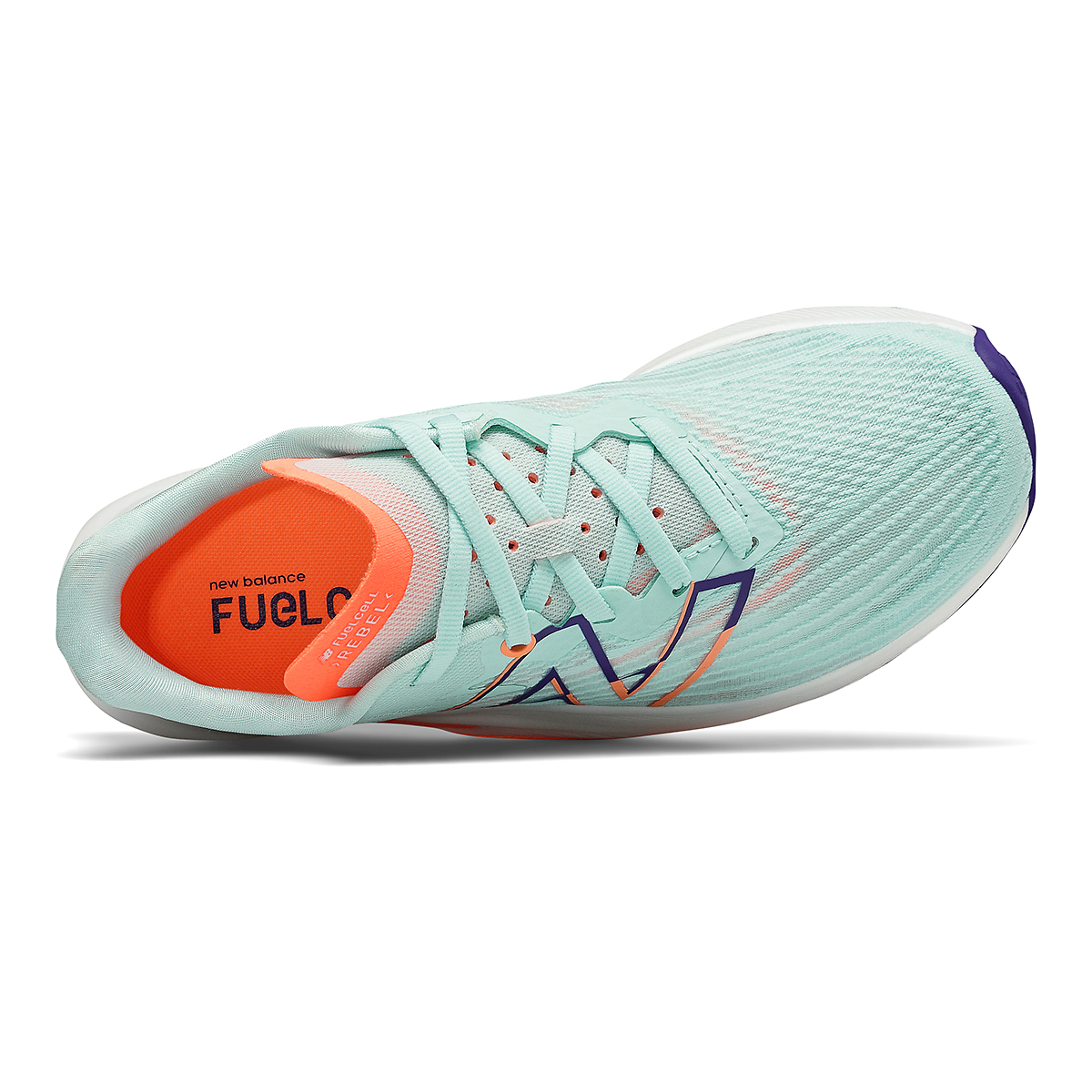 Women's New Balance Fuelcell Rebel V2 Running Shoe - Color: White Mint/Citrus Punch - Size: 7 - Width: Regular, White Mint/Citrus Punch, large, image 3